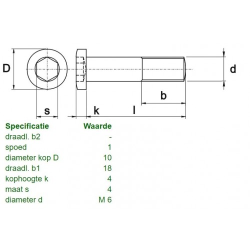 LOW HEXAGON SOCKET HEAD SCREW  | M6x14 - DIN 7984